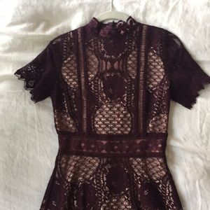 Maroon lace high neck dress